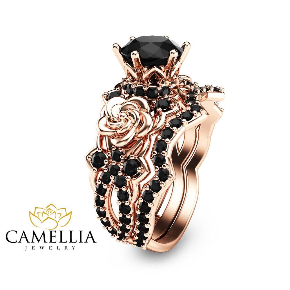 unique camellia rings flower media diamond gift right special hand ring rose engagement band gold