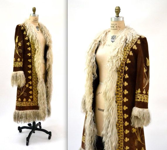 Vintage Embroidered Shearling Afghan Jacket Coat Small// 70s ...