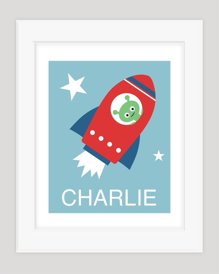Personalized Baby Name Art, Nursery Art, Rocket, Space Nursery Art, Children Decor. $22.00, via Etsy.