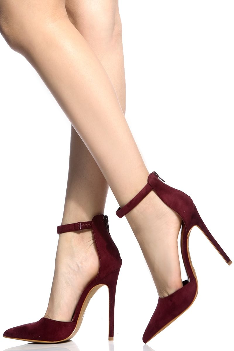 767b20daa5 Wine Faux Suede Ankle Strap Pointed Toe Pumps @ Cicihot Heel Shoes online  store sales:Stiletto Heel Shoes,High Heel Pumps,Womens High Heel Shoes,Prom  Shoes ...