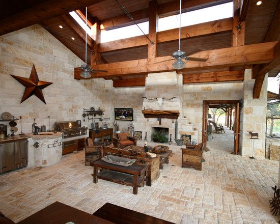 A Texas Hill Country Style Outdoor Living Area Cooking Area With