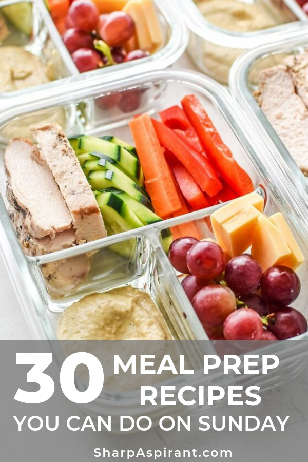 30 Healthy Meal Prep Recipes You Can Do on Sunday. This list is awesome! It helps me to simplify my meal planning in a week. Will pin this for later! meal prep, meal prep for the week, meal plan, meal prep recipes.