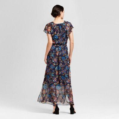 Women's Floral Short Sleeve Maxi Dress - A New Day Navy Xxl, Blue