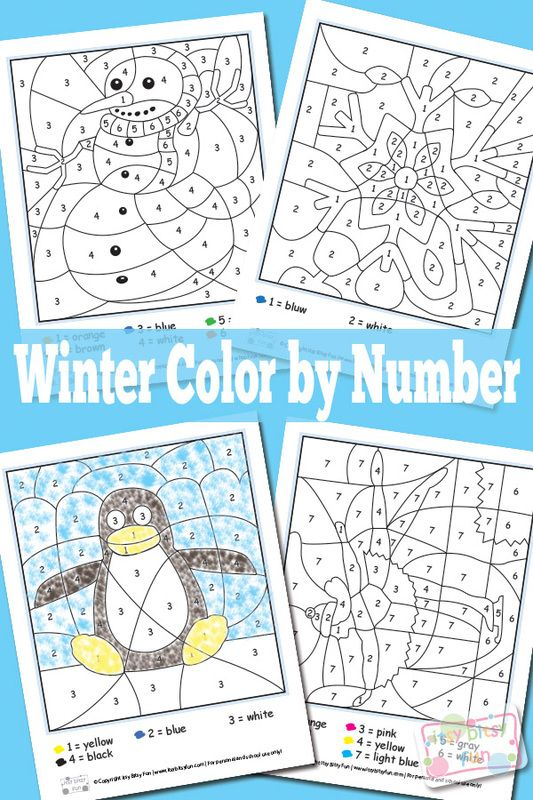 Winter Color By Numbers Worksheets | Winter colors, Worksheets and ...