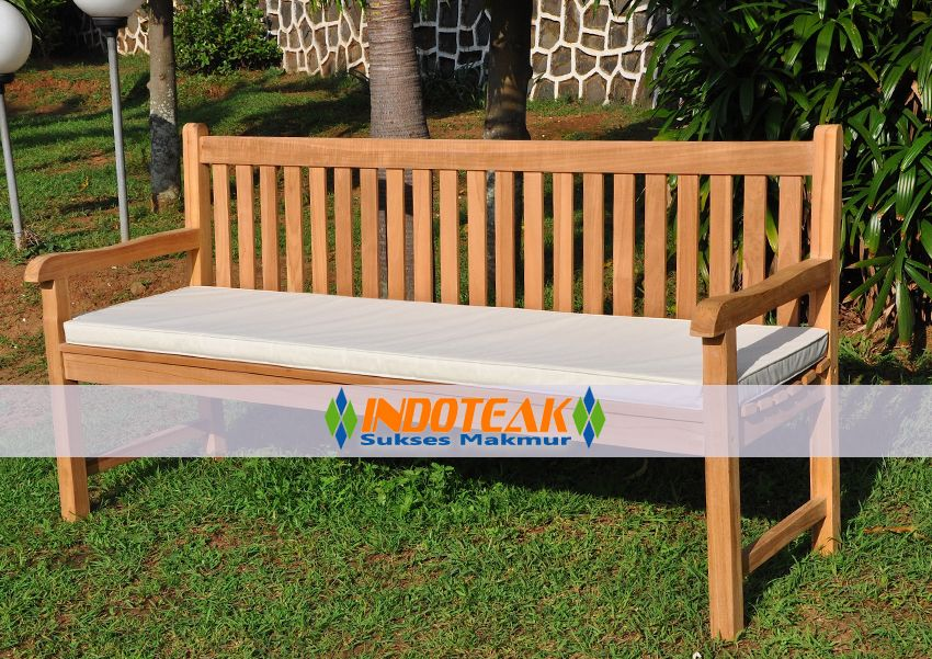 Teak Garden Bench Furniture Java 180 Cm And White Color Cushion Manufacturers Hotel Projects Suppliers Indonesian