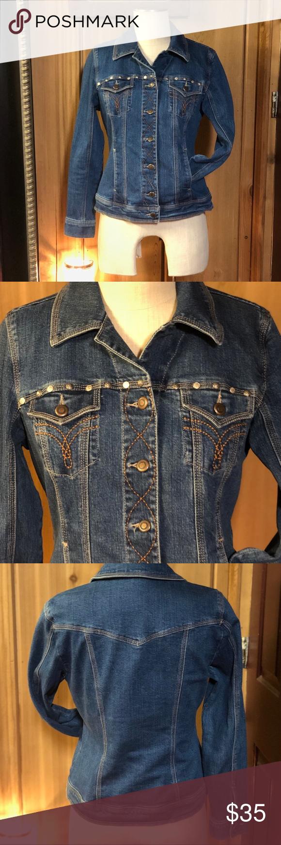 5aea79679f8 Dress Barn Jean Jacket Unique Stitches and Studs super Fashionable Jacket  Jackets & Coats Jean Jackets