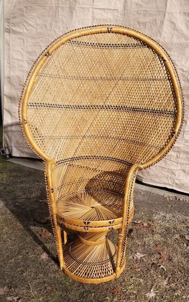 Admirable Vintage Peacock Chair Wicker High Back Fan Rattan Mid Gmtry Best Dining Table And Chair Ideas Images Gmtryco