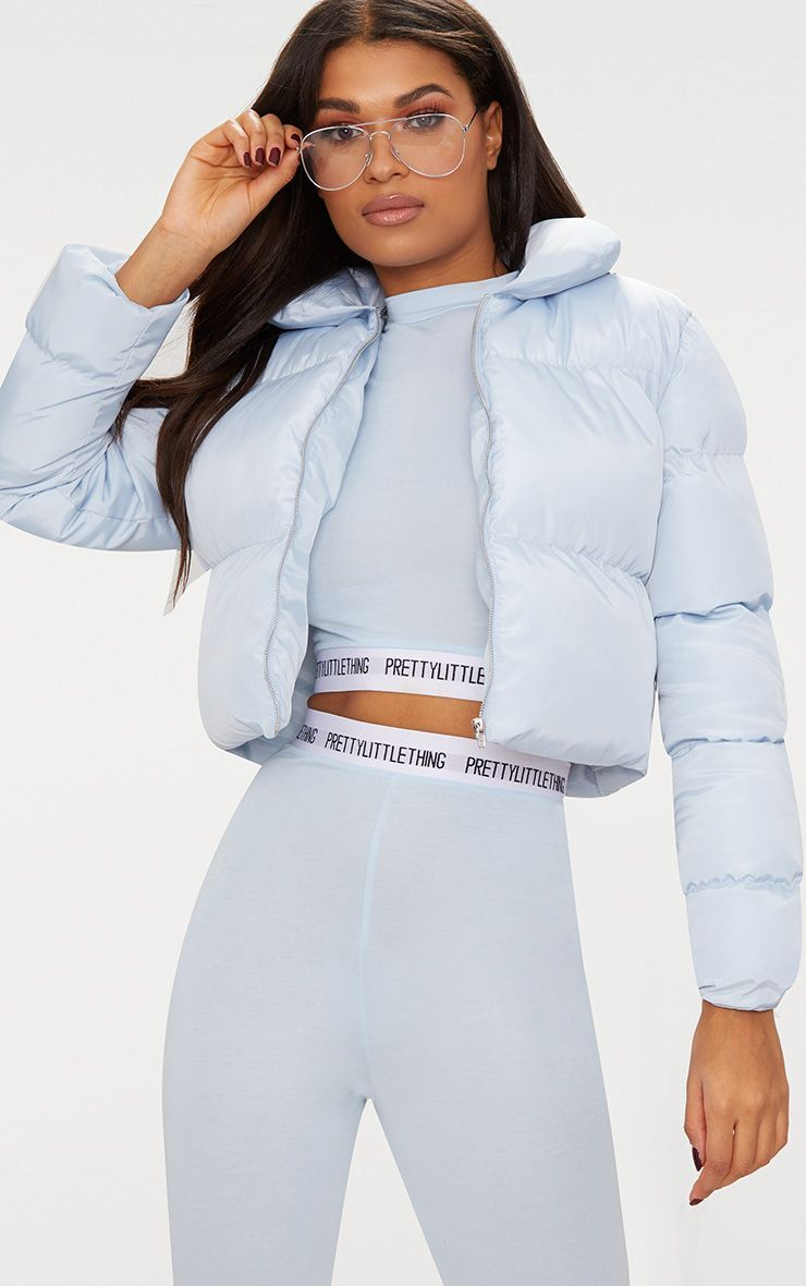 Baby Blue Cropped Puffer Jacketget Ready To Wrap Up In Style With This Totally Cute Puffer Jacket Puffer Jacket Women Blue Puffer Jacket Puffer Jacket Outfit [ 1180 x 740 Pixel ]