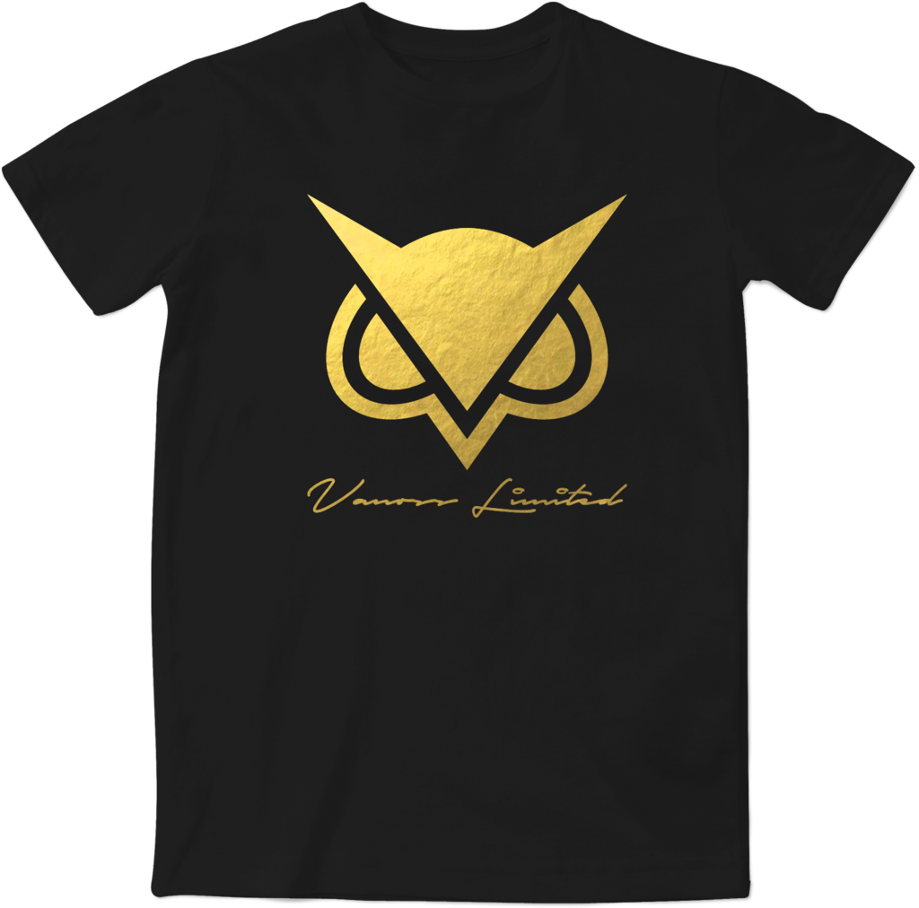 Limited edition vanoss gold foil logo t shirt for Shirts with small logos