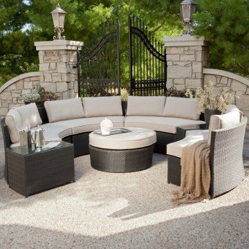 Round Sectional Around Firepit Exactly What I Want On My Lower Level Deck Patio Patio Set Wicker Patio Furniture Set
