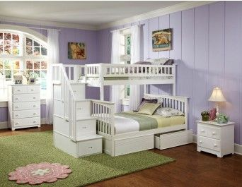 Columbia Staircase Bunk Bed Twin Over Full White Staircase Bunk