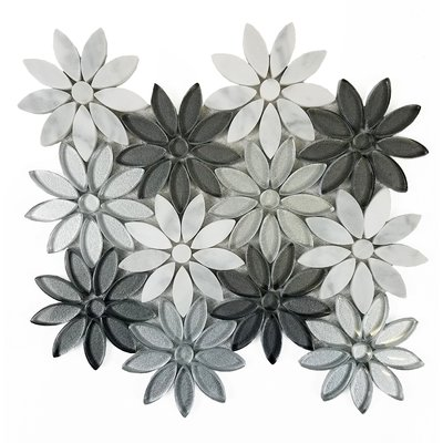 "Abolos Flower Illusion 12"" x 12"" Glass & Stone Deco Mosaic Tile | Wayfair"