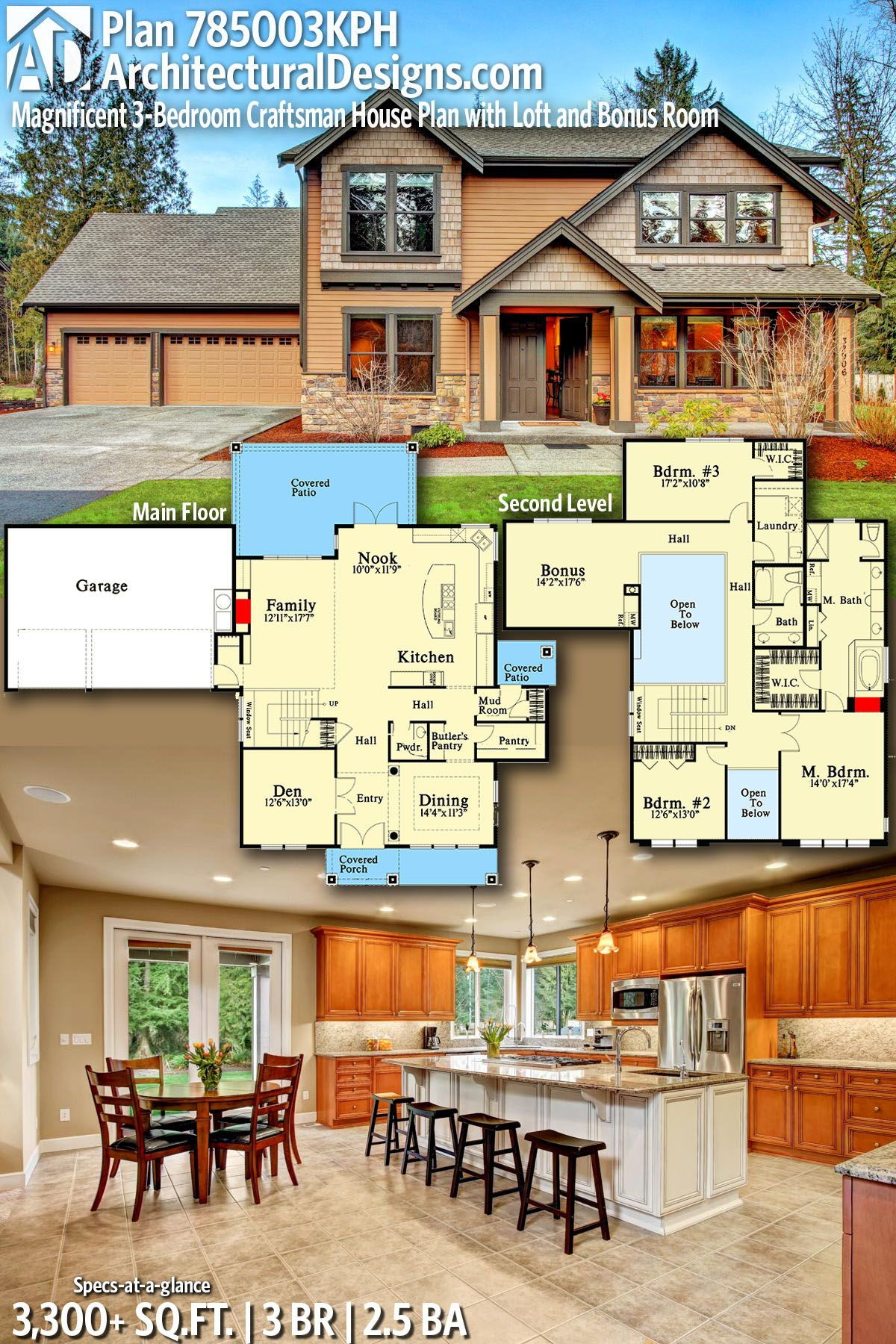 Architectural Designs Home Plan 785003KPH Gives You 3 Bedrooms, 2.5 Baths  And 3,300+ Sq