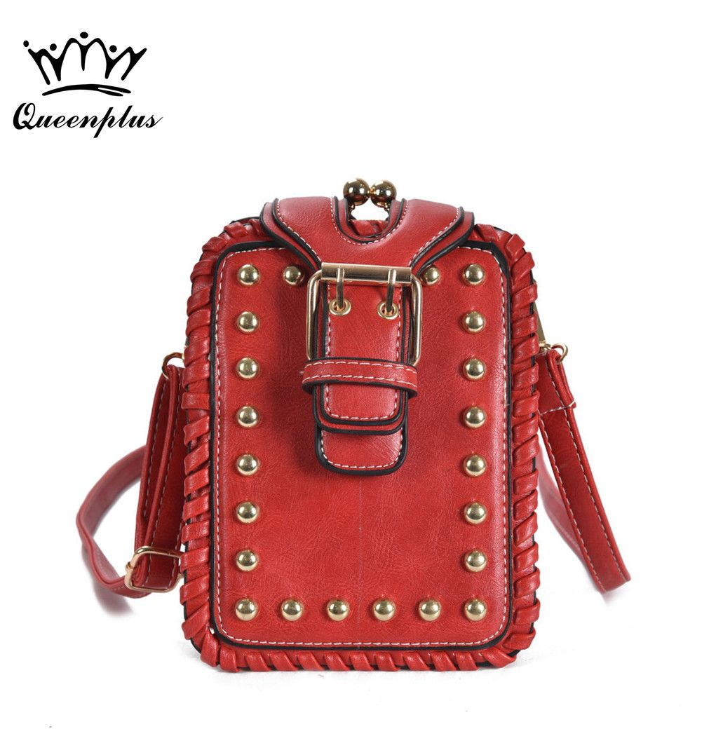 a2b8a3cf75 2017 New Style famous brand Retro Minimalist rivet Crossbody Bag Small  Women Shoulder Bag Women Messenger
