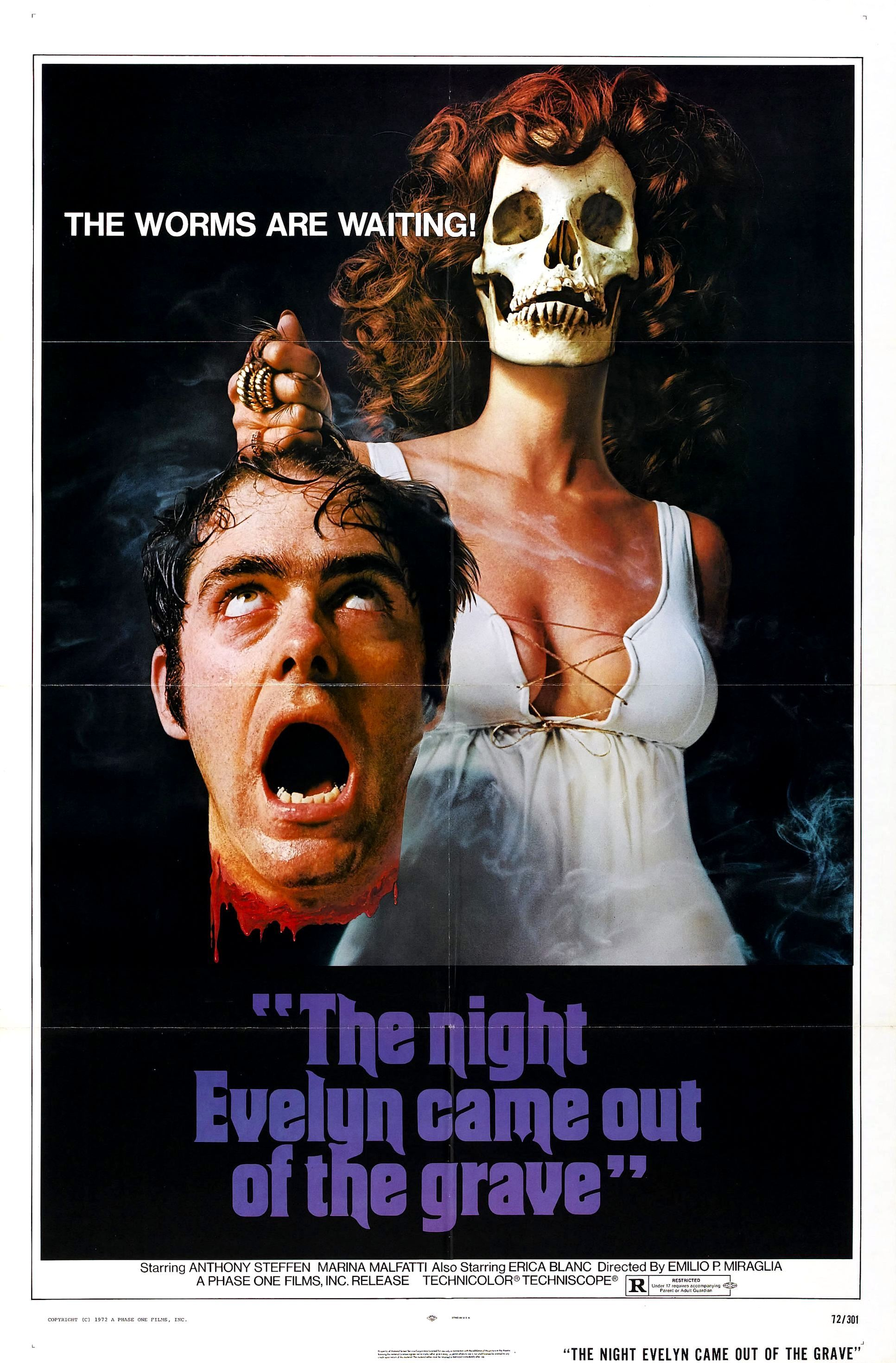 Cult Horror movie poster print The Night Evelyn Came Out of the Grave 1971