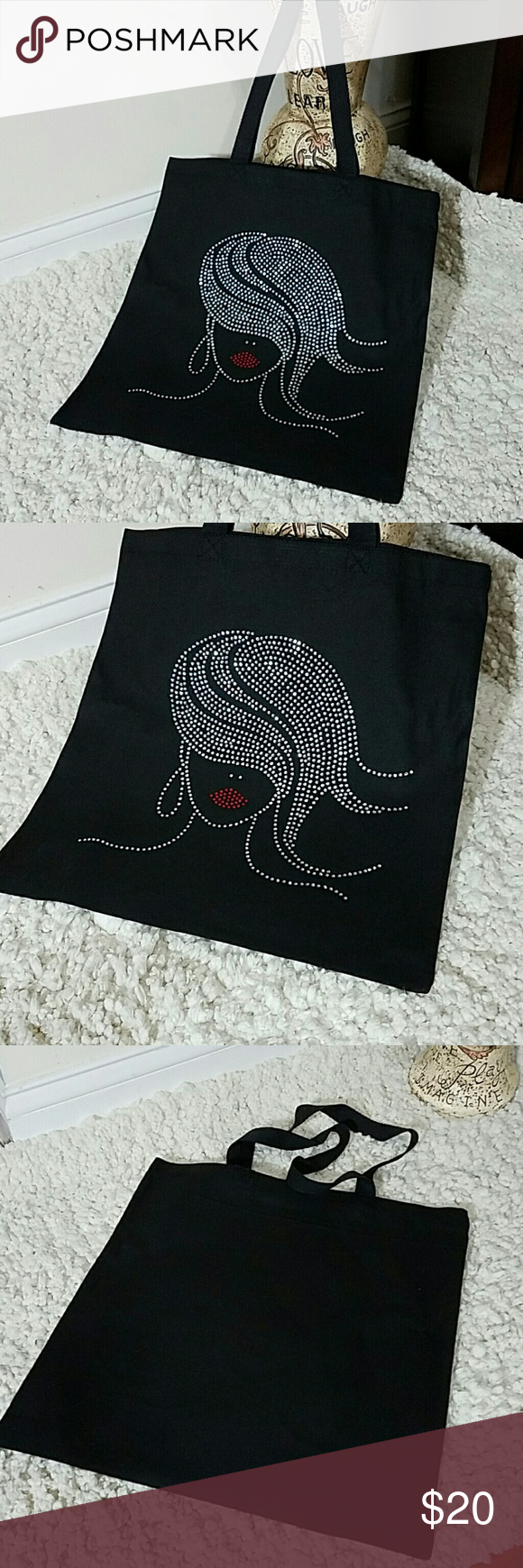Glam Girl Rhinestone Canvas  Tote Adorable, reusable canvas tote. Perfect for carrying extras or light shopping. Great for spring/ summer. 100% cotton  15.75in x 15in Boutique Bags Totes