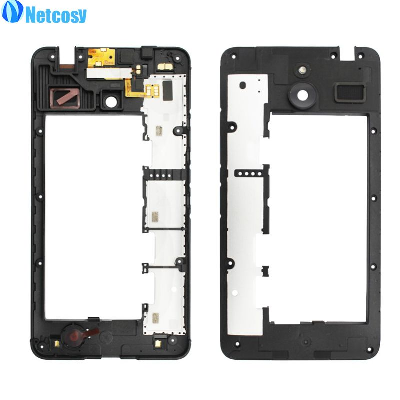 netcosy for nokia microsoft lumia 640xl middle plate cover black housing middle frame bezel replacement for nokia lumia 640 xl