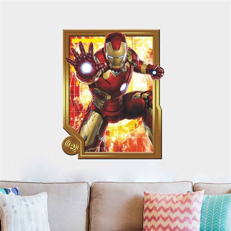 Iron Man Super Hero Wall Stickers Kids Room Decor Avengers A - Superhero wall decals for kids rooms