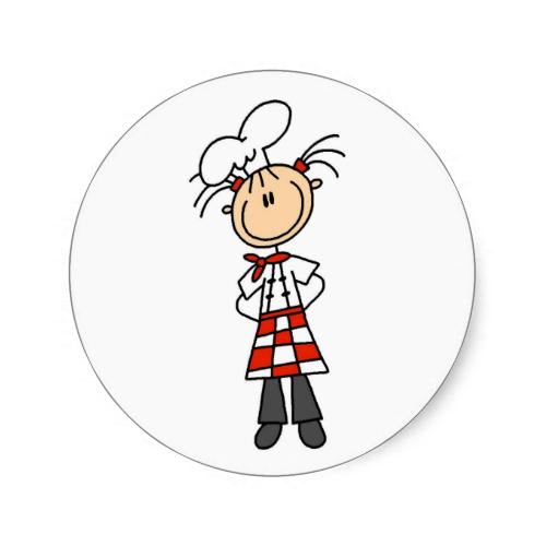 Girl Chef Stick Figure Stickers