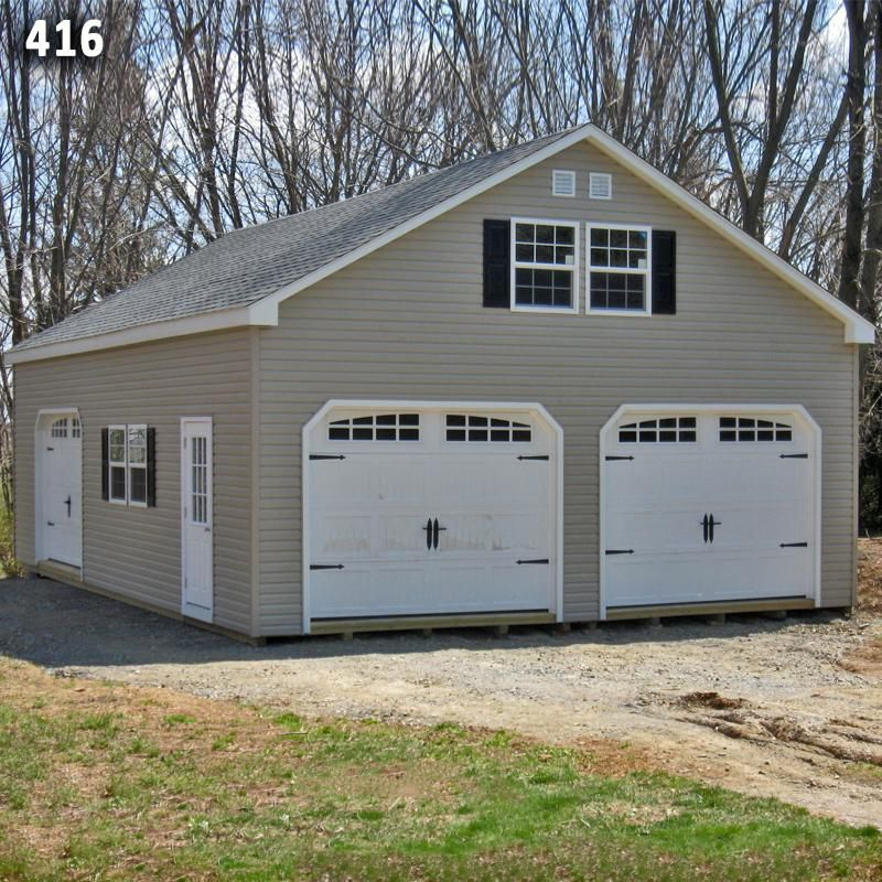 24x36 2 car 2 story garage vinyl siding a frame roof for Two story car garage