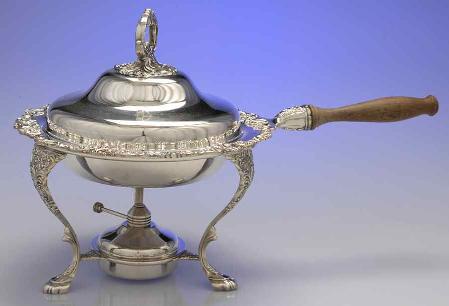 Baroque Silverplate Holloware Older Chafing Dish W Lid Burner Stand No Liner By Wallace Silver Wallace Silver Chafing Dishes Baroque