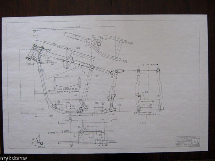 HARLEY DAVIDSON Pan Head 1958-64 Frame Blueprint Drawing poster - copy exchange blueprint application