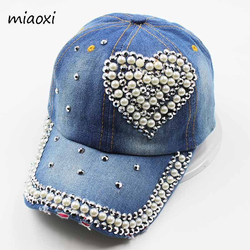 0de963de072 miaoxi New Fashion An Crown Rhinestone Caps Women Baseball Cap Denim Love  Hat Sun Summer Snapback