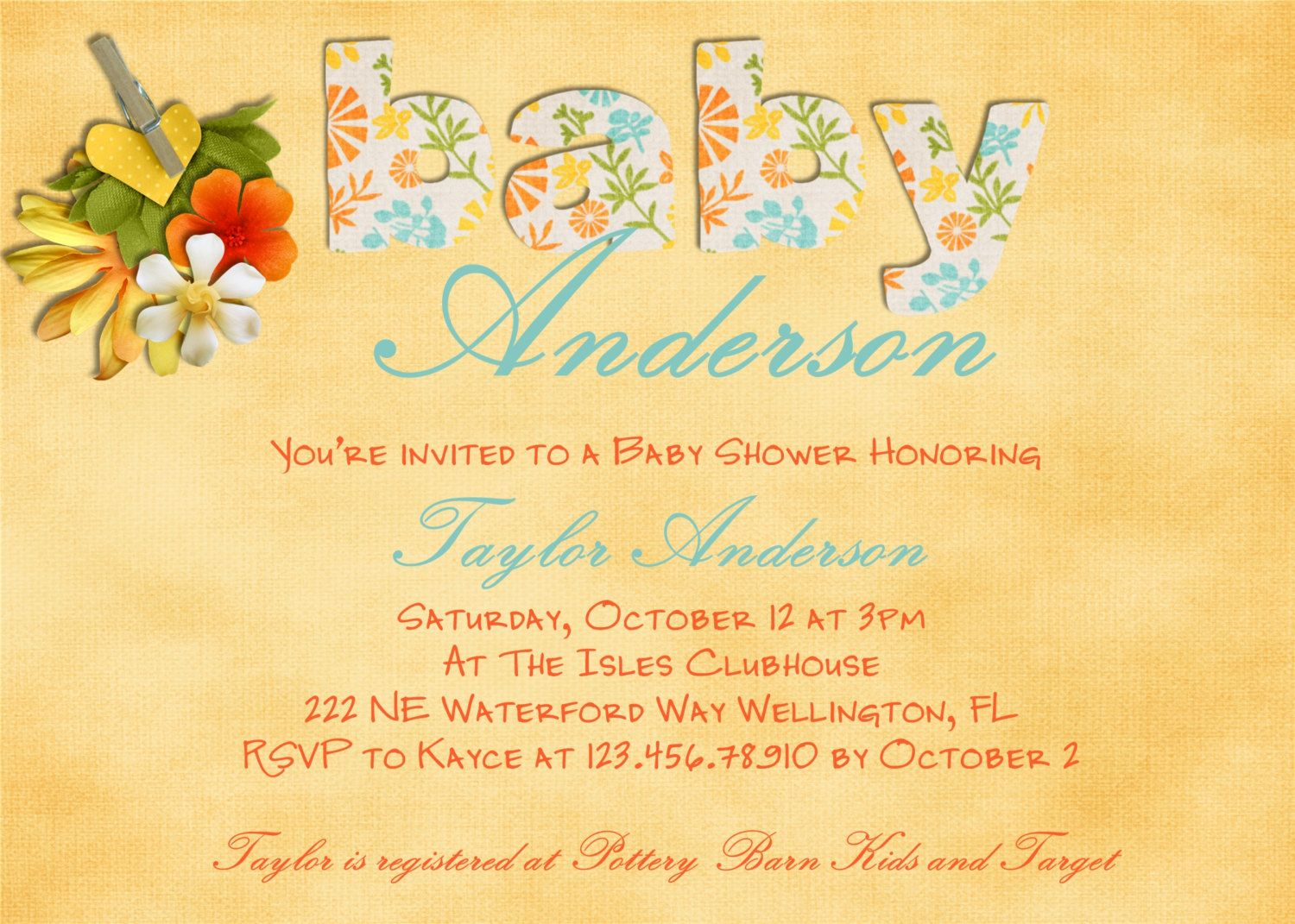 Tropical Luau Baby Shower Invitation Printable 1600 via Etsy