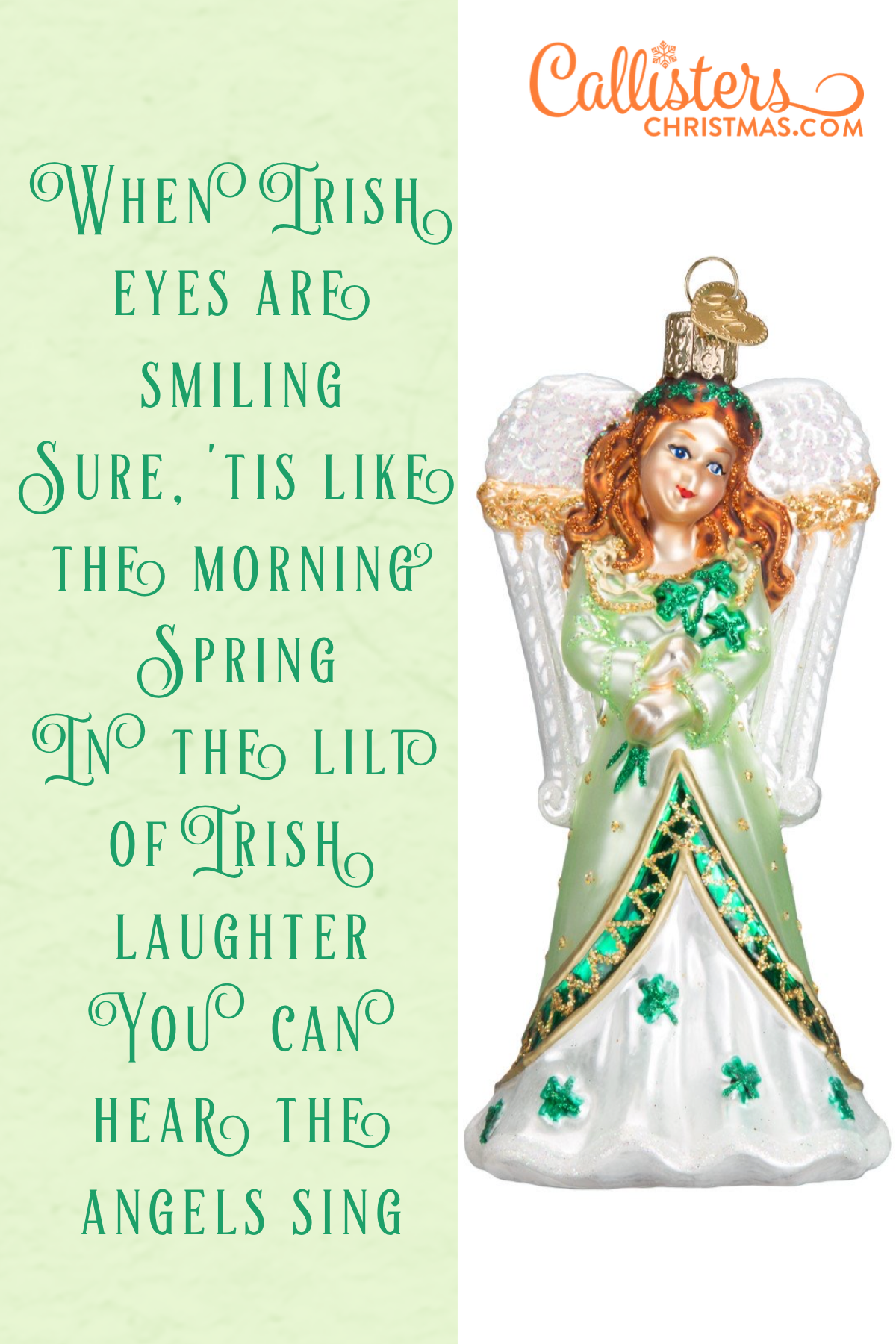 Sing An Irish Christmas 2020 Irish Angel Ornament in 2020 | Angel ornaments, Irish angel