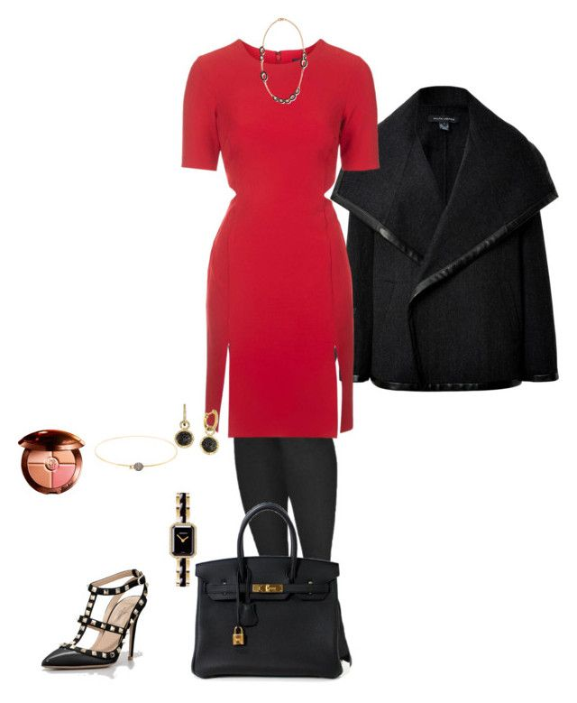 Glam Red & Black by pravida-amp on Polyvore featuring Topshop, Ralph Lauren Black Label, Commando, Valentino, Hermès, Pomellato, Chanel, R.H. Macy's & Co., Mathilde Danglade and Guerlain