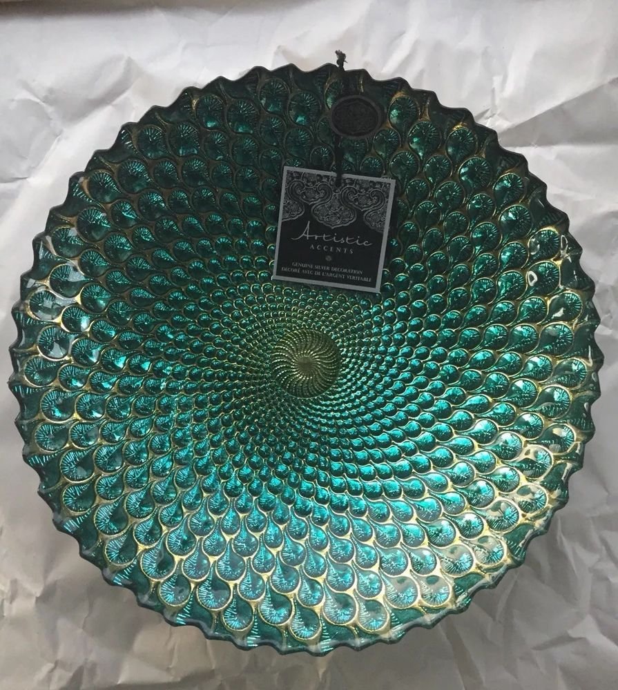 Artistic accents glass platebowl hand decorated handmade