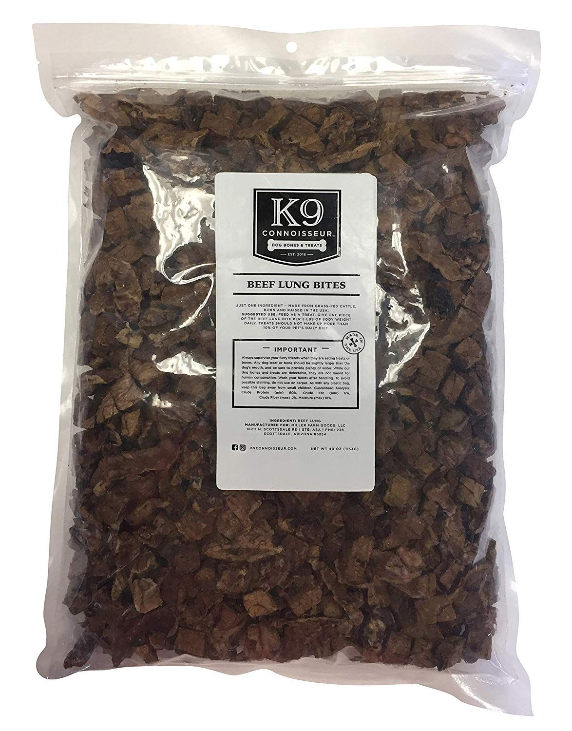 K9 Connoisseur Dog Lung Bites Treats Made in The USA