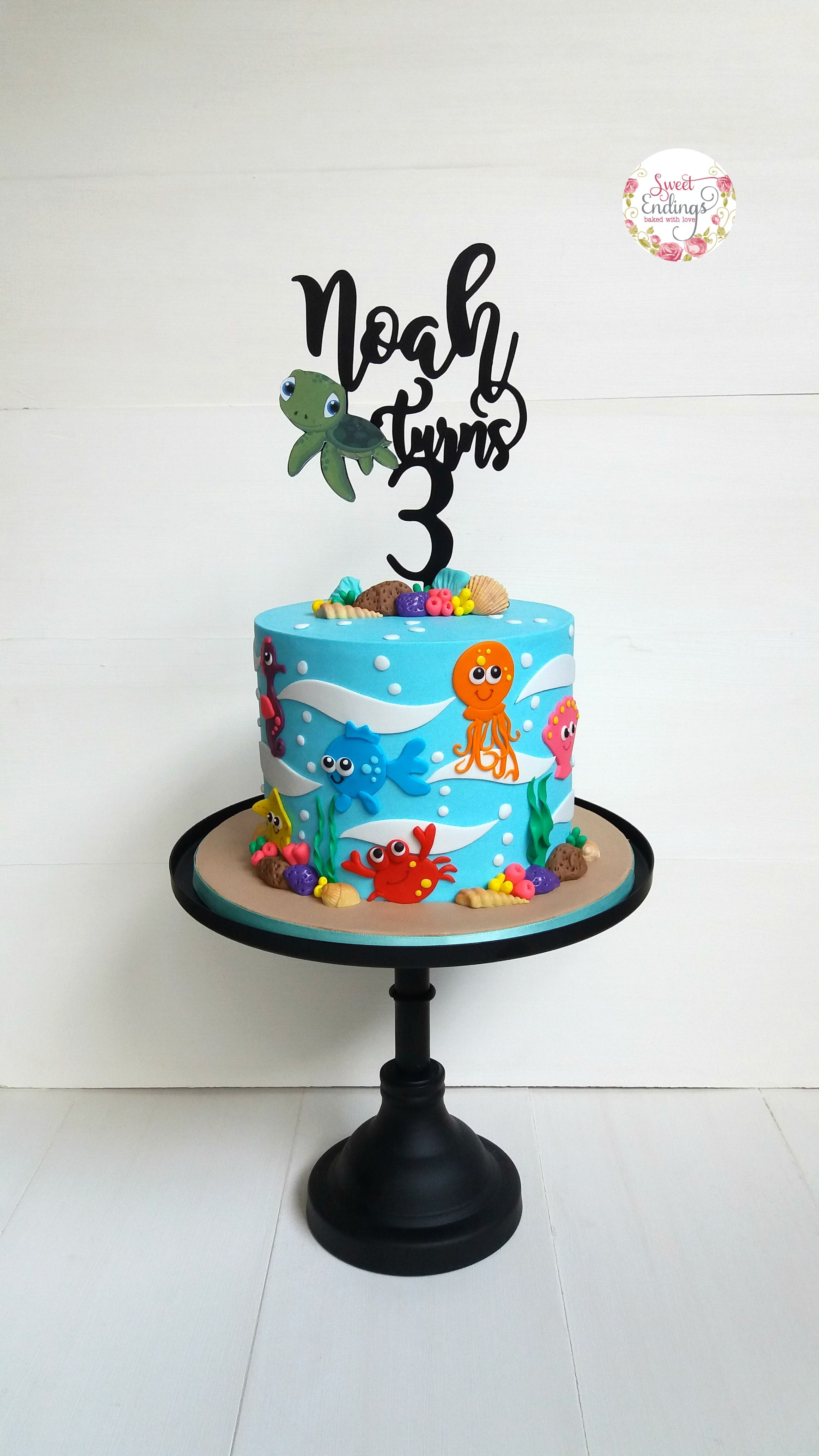 2d Fondant Under The Sea Theme Perfect For Boys And Girls Boys First Birthday Cake Ocean Birthday Cakes Shark Birthday Cakes