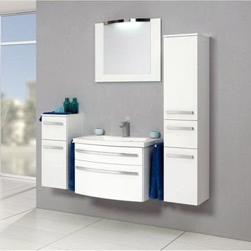 Meuble de salle de bains Image, blanc 870u20ac lu0027ensemble SB Rangement - leroy merlin meuble salle de bain neo