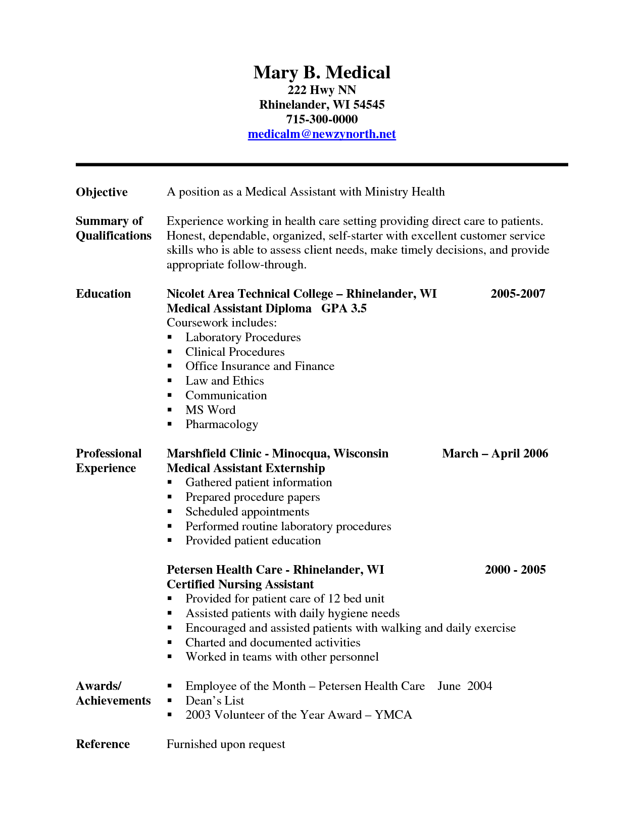 Resume Examples For Medical Assistant Experienced Medical Assistant Resume Sample Cakepins
