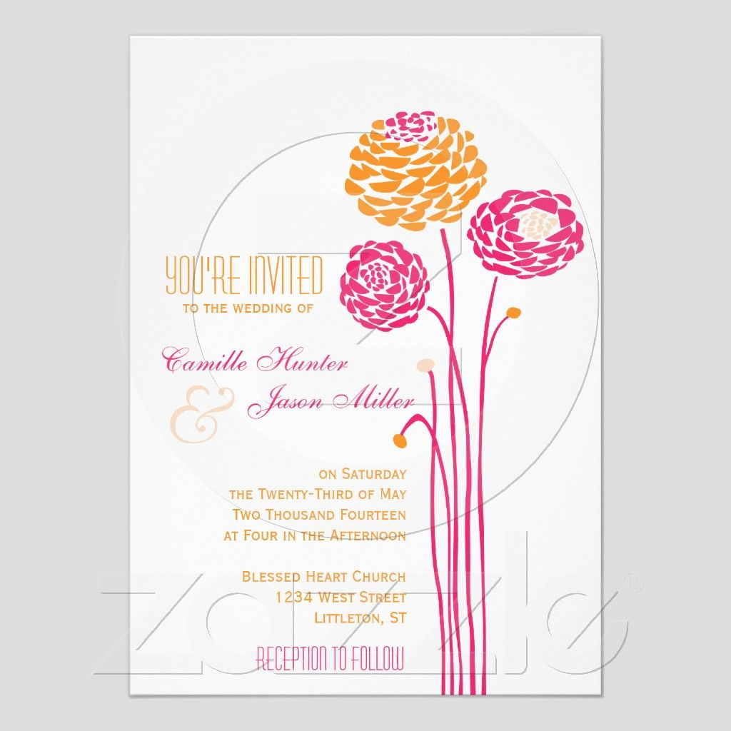 Pink Orange Wedding Invitations: Simple Dahlia - Pink & Orange Wedding Invitation