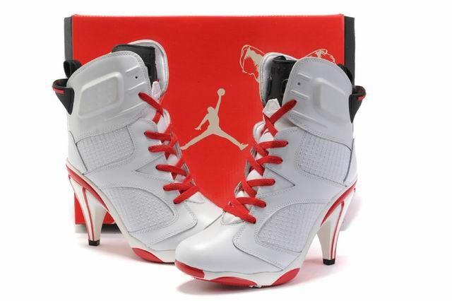 purchase cheap a386d d592f 2011 New Air Jordans High Heels Shoes White-Red - Nike High Heels Air  Jordan Shoes
