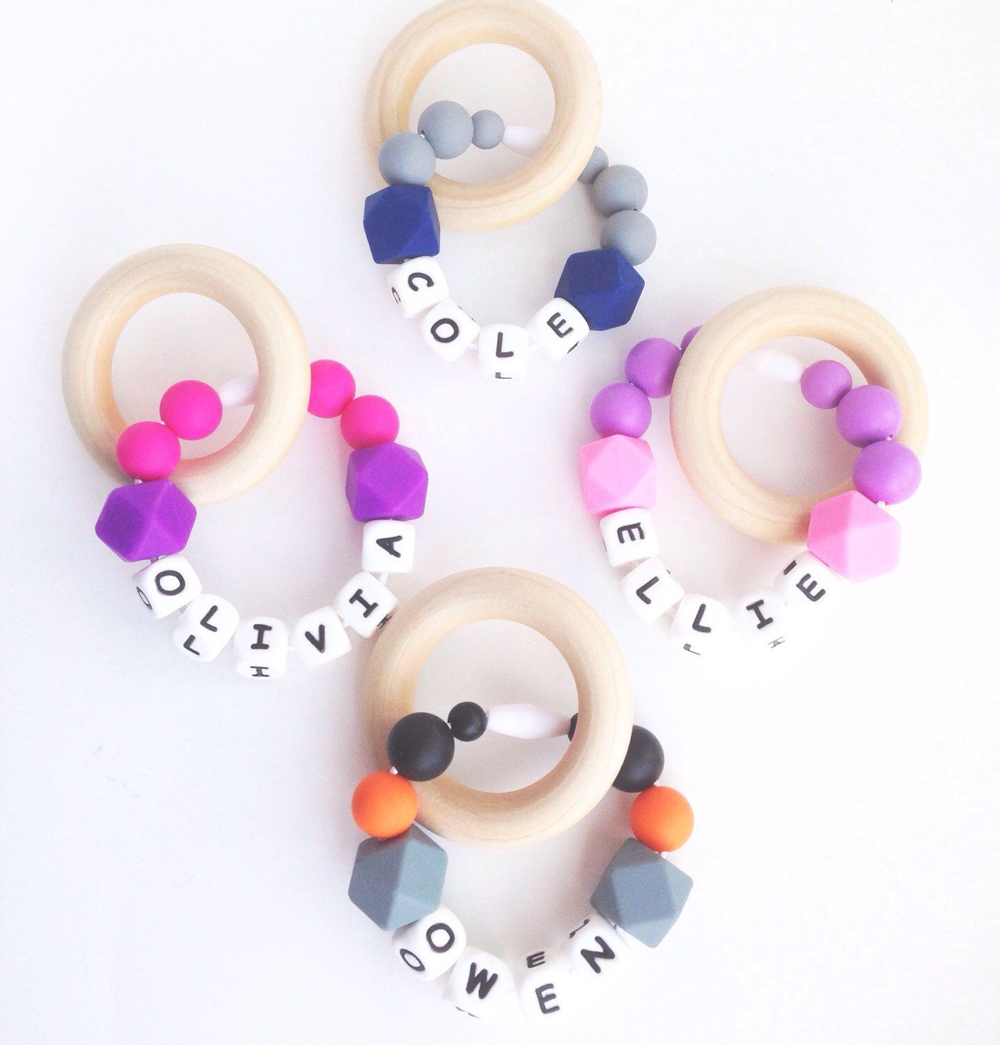 Personalized Teething Ring Silicone Bracelet Baby