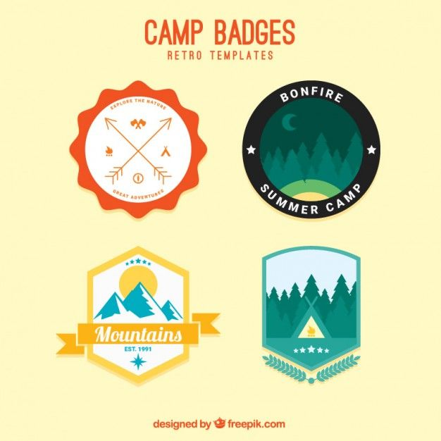 Camp Badges Retro Templates Vector Free Download Marketing