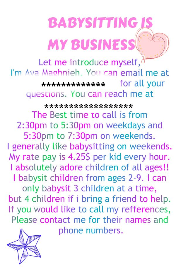 what to include in a babysitting flyer