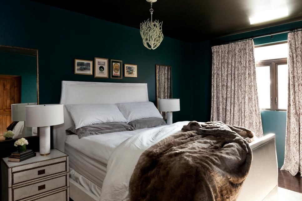 Dark Green Bedroom With White Furniture