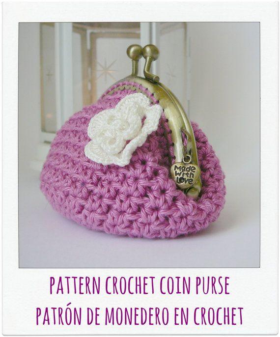 Patrón monedero lila con flor a crochet | monederos | Pinterest ...