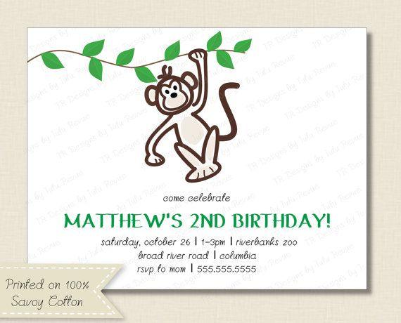 Kids BIRTHDAY PARTY INVITATIONS monkey invitation by TutuRevue, $21.70