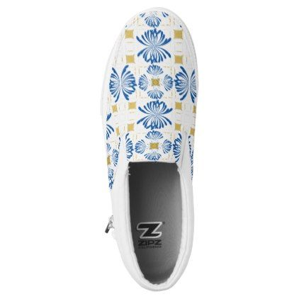 Navy Blue Floral Chinoiserie Zen Pattern Slip-On Sneakers Retro