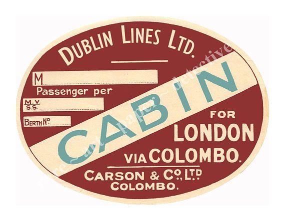 Sticker set 10 stickers vintage steamship luggage labels