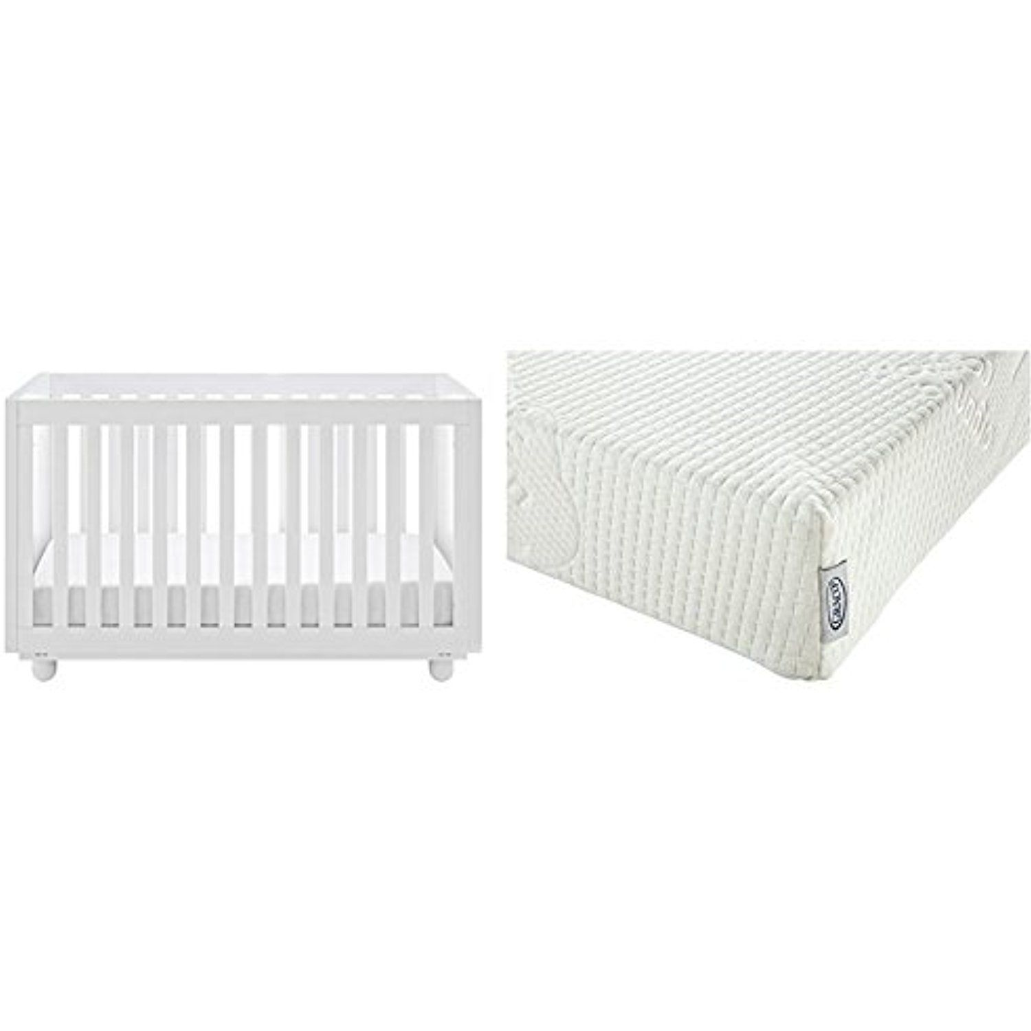 status violet 3 in 1 convertible crib white with graco natural