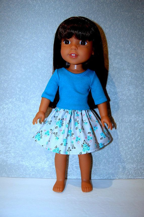 """Dress for 14.5/"""" Wellie Wishers Doll Clothes TKCT handmade turquoise flowers"""