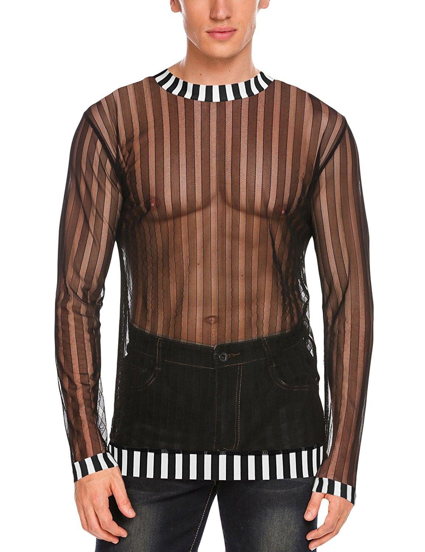 255e8d8a Men's Clothing, Shirts, T-Shirts, Mens Sexy Mesh Sheer See Through Long  Sleeve Tops Clubwear Shirts - Black - CO188UORTTH #men #fashion #clothing  #style ...