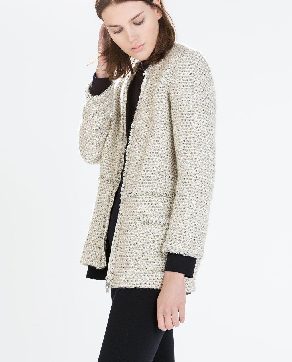 Zara Ecru Frayed Edge Textured Long Blazer - Beautiful Wardrobe