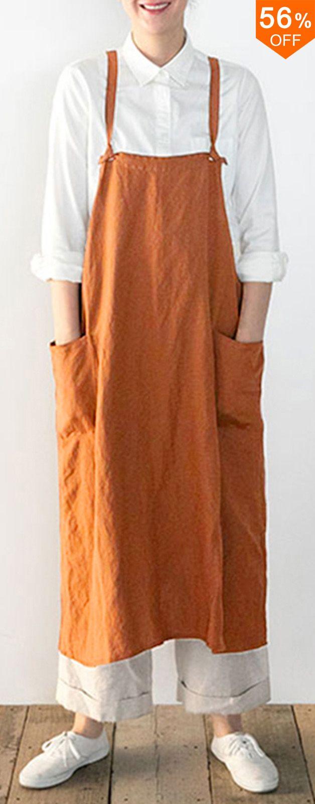 44ae4be2273eb 56%OFF Free shipping. Japanese Dress Sleeveless Strap Linen Apron ...